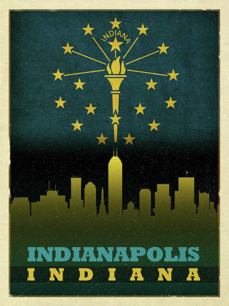 Wall Art - Mixed Media - Indianapolis City Skyline State Flag Of Indiana by Design Turnpike
