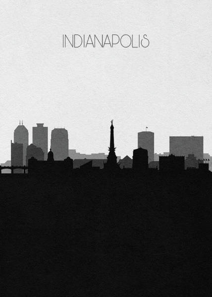 Wall Art - Drawing - Indianapolis Cityscape Art V2 by Inspirowl Design
