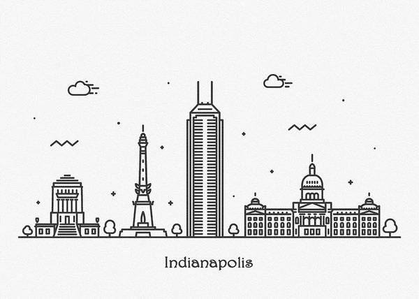 Landmark Center Drawing - Indianapolis Cityscape Travel Poster by Inspirowl Design