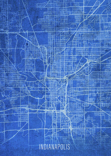 Wall Art - Mixed Media - Indianapolis Indiana City Street Map Blueprints by Design Turnpike