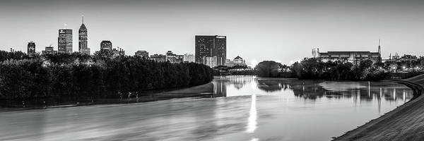 Photograph - Indianapolis Panoramic Skyline - White River Black And White by Gregory Ballos