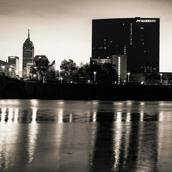 Photograph - Indianapolis Sepia Skyline And White River Reflection by Gregory Ballos
