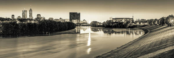 Photograph - Indianapolis Sepia Skyline Panorama Over The White River by Gregory Ballos