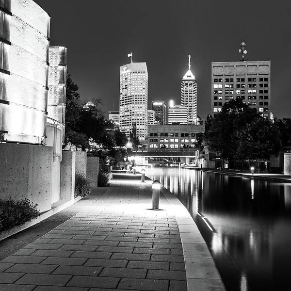 Photograph - Indianapolis Skyline Along The Canal Walk - Monochrome Square by Gregory Ballos