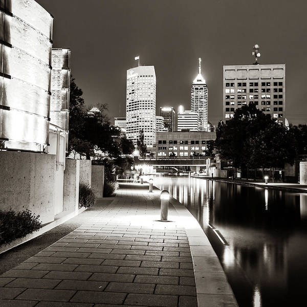 Photograph - Indianapolis Skyline Along The Canal Walk - Sepia Square by Gregory Ballos