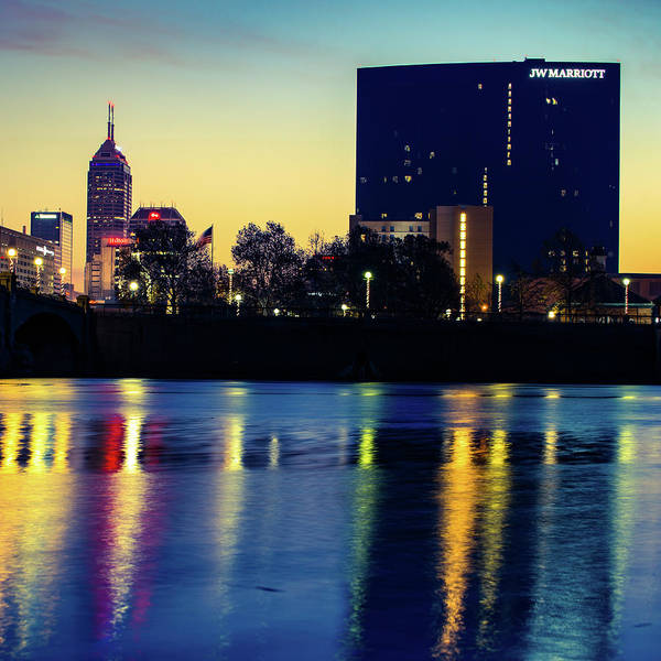 Photograph - Indianapolis Skyline And White River Reflection by Gregory Ballos