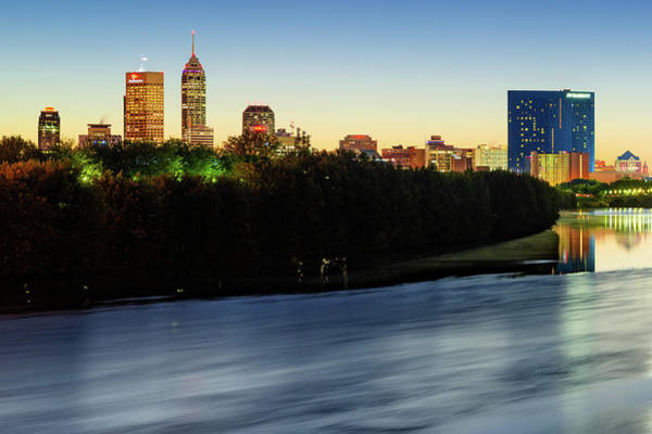 Photograph - Indianapolis Skyline At Dawn On The White River by Gregory Ballos