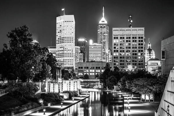 Photograph - Indianapolis Skyline Lights - Monochrome Edition by Gregory Ballos