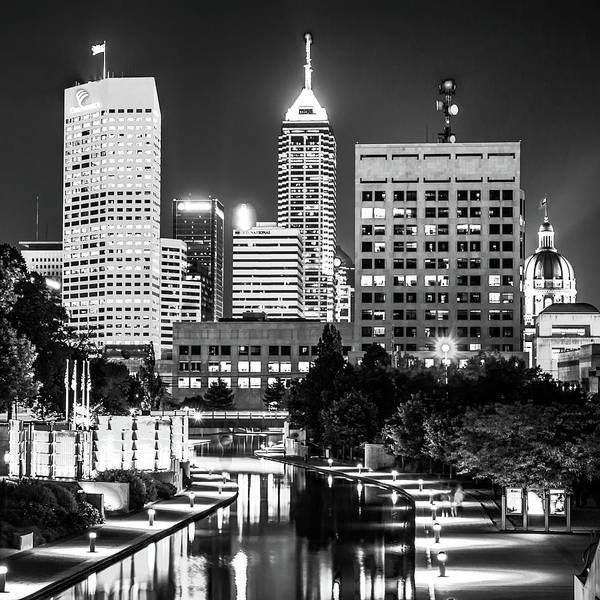 Photograph - Indianapolis Skyline Lights - Square Monochrome Edition by Gregory Ballos
