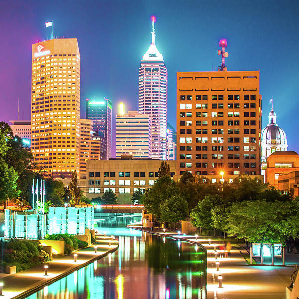 Photograph - Indianapolis Skyline Night Glow - Square Edition by Gregory Ballos