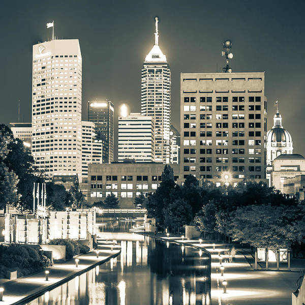 Photograph - Indianapolis Skyline Night Glow - Square Sepia Edition by Gregory Ballos