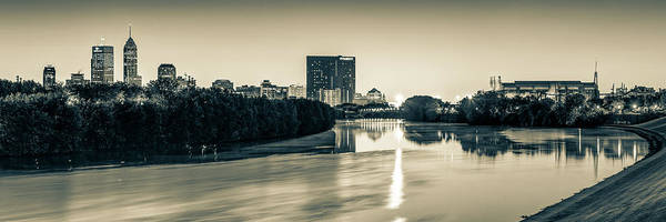 Photograph - Indianapolis Skyline Panorama Over The White River - Sepia Edition by Gregory Ballos