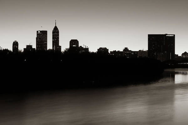 Photograph - Indianapolis Skyline Silhouettes Over The White River - Classic Sepia by Gregory Ballos