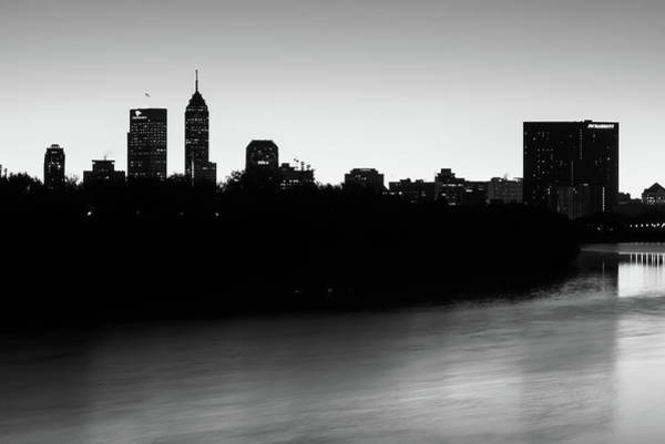 Photograph - Indianapolis Skyline Silhouettes Over The White River - Monochrome by Gregory Ballos