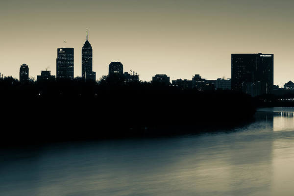 Photograph - Indianapolis Skyline Silhouettes Over The White River - Sepia by Gregory Ballos