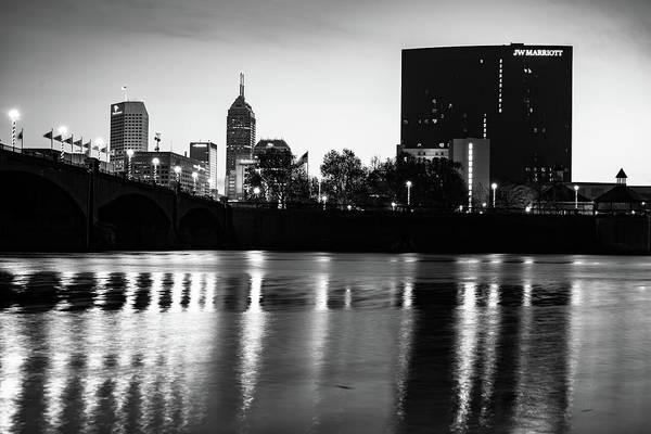 Photograph - Indianapolis White River Skyline In Black And White by Gregory Ballos