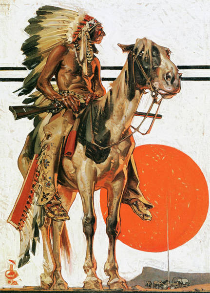 Wall Art - Painting - Indians And Bonfire - Digital Remastered Edition by Joseph Christian Leyendecker