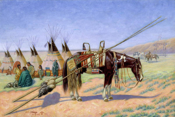 Wall Art - Painting - Indians In Camp At Ranch by Emil W Lenders