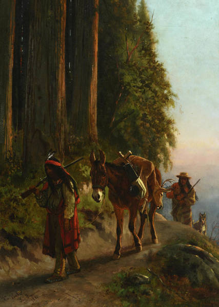 Wall Art - Painting - Indians On A Trail, 1880 by William Hahn