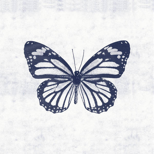 Wall Art - Mixed Media - Indigo And White Butterfly 3- Art By Linda Woods by Linda Woods