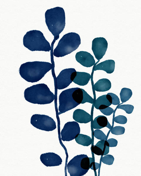 Wall Art - Mixed Media - Indigo Eucalyptus 1- Art By Linda Woods by Linda Woods