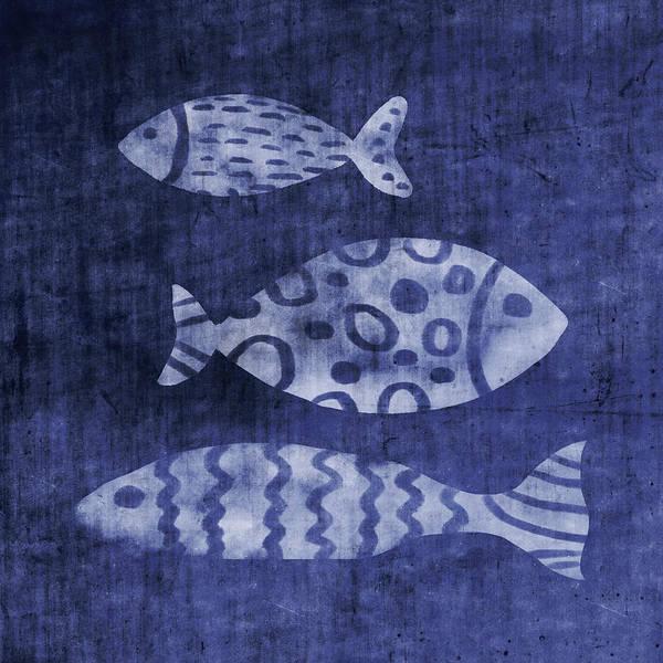 Mixed Media - Indigo Fish- Art By Linda Woods by Linda Woods
