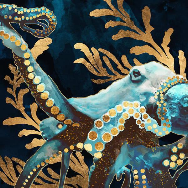 Wall Art - Digital Art - Indigo Octopus by Spacefrog Designs