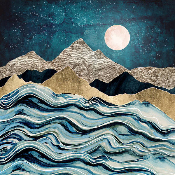 Wall Art - Digital Art - Indigo Sea by Spacefrog Designs