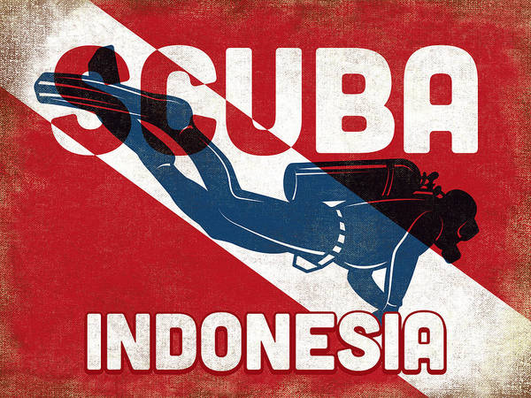 Scuba Digital Art - Indonesia Scuba Diver - Blue Retro by Flo Karp