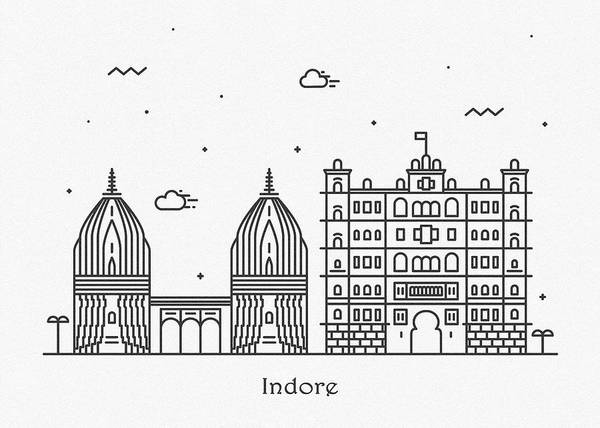 Landmark Center Drawing - Indore Cityscape Travel Poster by Inspirowl Design