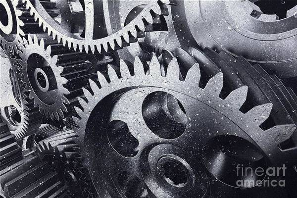 Wall Art - Photograph - Industrial Metal Gears In A Close-up. by Michal Bednarek