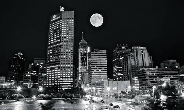 Wall Art - Photograph - Indy Dark Night Full Moon by Frozen in Time Fine Art Photography