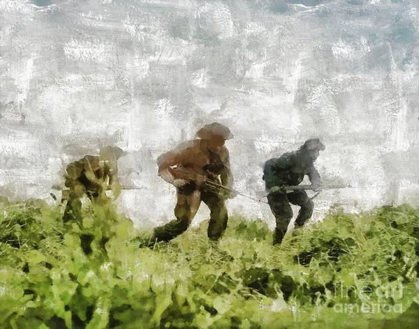 Wall Art - Painting - Infantry Attack, World War Two by Mary Bassett