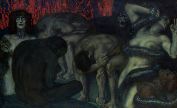 Wall Art - Painting - Inferno, 1908 by Franz von Stuck