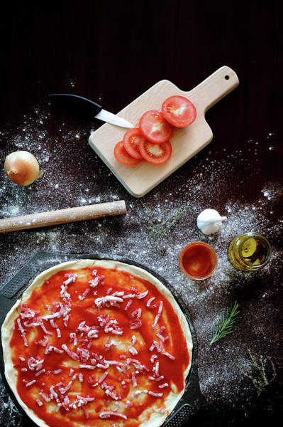Kitchen Utensil Photograph - Ingredients For Pizza by Virginie Blanquart