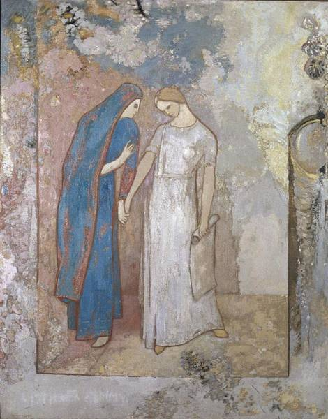 Initiation Painting - Initiation To Study - Two Young Ladies, 1905 by Odilon Redon