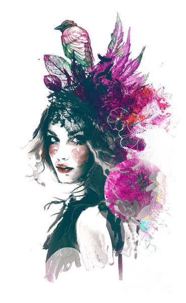 Wall Art - Digital Art - Ink Illustration With Painted Girl by Alisa Franz