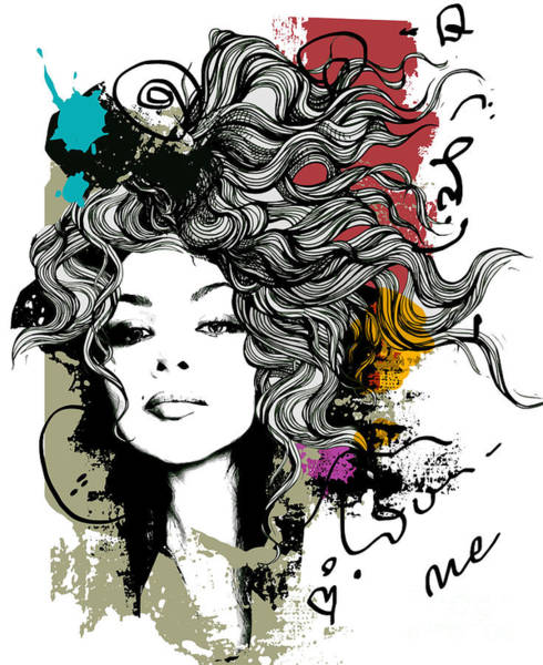 Wall Art - Digital Art - Ink Print  With Girl And Decorative by Alisa Franz