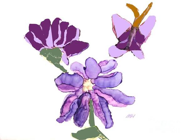 Wall Art - Digital Art - Ink Purple Flowers And Butterfly by Marsha Heiken