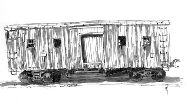 Drawing - Inktober 2018 No 1 Dilapidated Train Car by David King