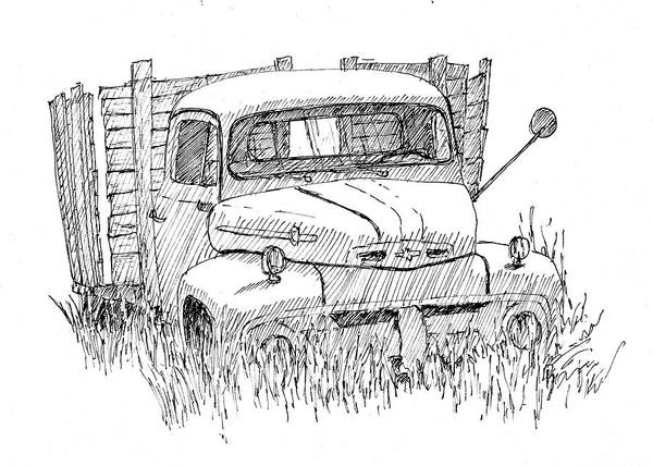 Drawing - Inktober 2018 No 2 Abandoned Ford Truck by David King