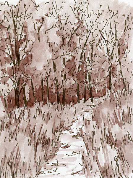 Drawing - Inktober 2018 No 6 Sepia Nature Landscape by David King