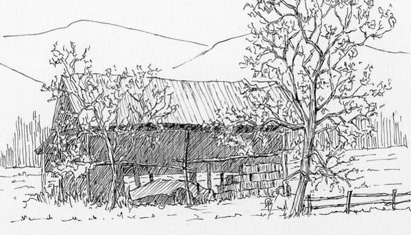 Drawing - Inktober 2018 No 7 Rural Landscape by David King