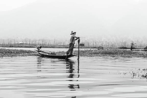 Photograph - Inle Lake Fisherman Bw5 by Mache Del Campo