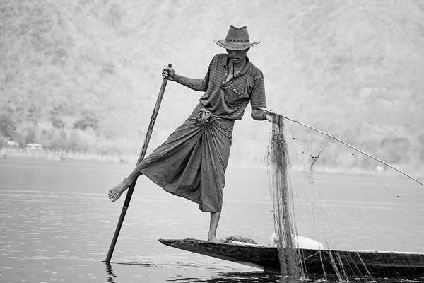 Photograph - Inle Lake Fisherman Byw by Mache Del Campo