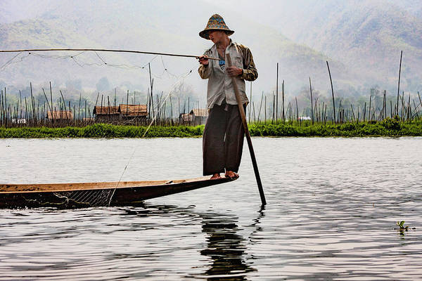 Photograph - Inle Lake's Fishermen 2 by Mache Del Campo