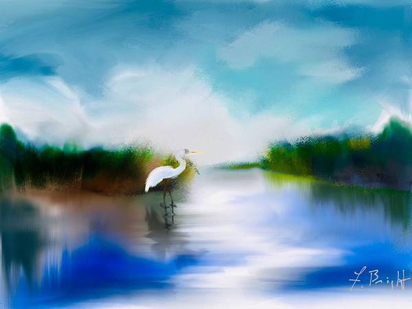 Sawgrass Digital Art - Inlet With Egret by Frank Bright