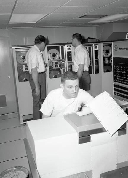 Painting - Inmates With An Ibm Computer And Tape Back-up System. by Celestial Images