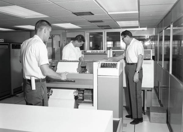 Painting - Inmates With Ibm Printer , Ibm Spectra 70 Printer 1960 by Celestial Images