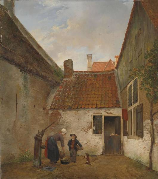 Utilitarian Painting - Inner Courtyard. by Andreas Schelfhout -1787-1870-